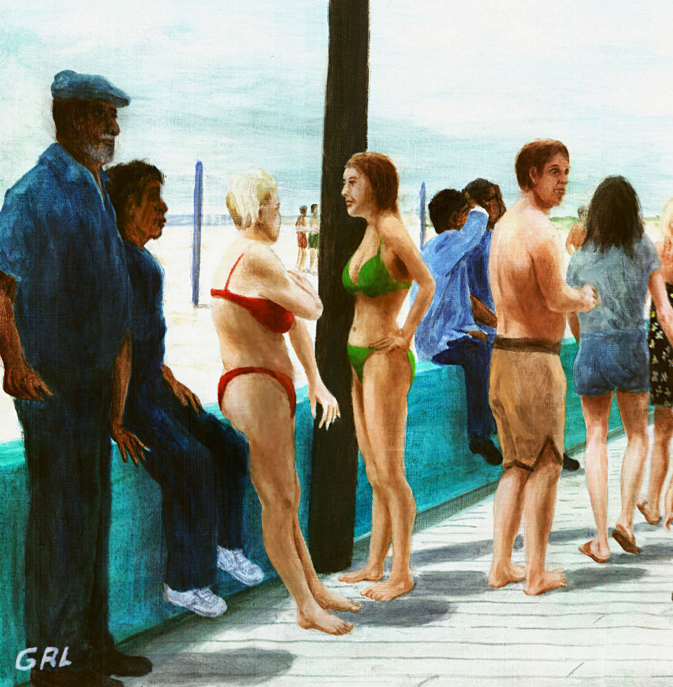 North Carolina Atlantic Beach Boardwalk original oil painting (detail 1) - original fine art work by G. Linsenmayer