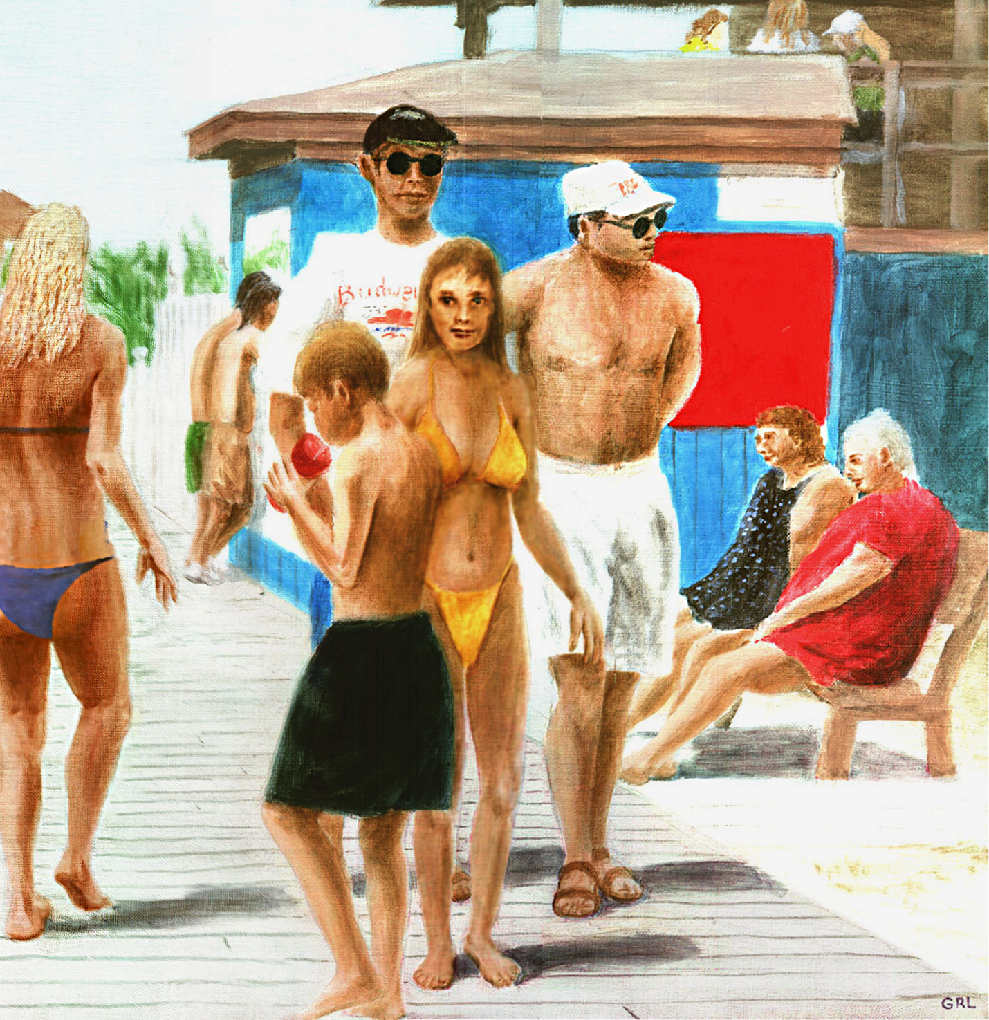 North Carolina Atlantic Beach Boardwalk                 original oil painting (detail3) - original fine art work                 by G. Linsenmayer