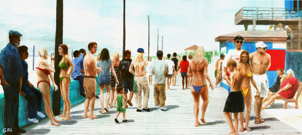 North Carolina Atlantic Beach Boardwalk original oil painting - original fine art work by G. Linsenmayer
