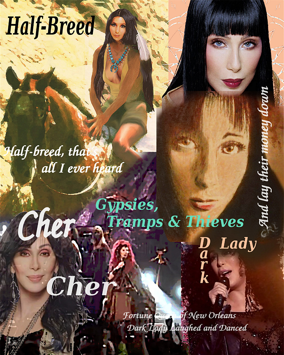 Cher Collage, Gypsies Half-Breed Dark Lady, $18 to $24 medium-size prints. Free downloads. Cher multimedia acrylic/Oil digital collage, original fine Art. GrlFineArt. Fine art work, fine art decor, fineart; landscapes, seascapes, boats, figures, nudes, figurative art, flowers, still life, digital abstracts. Multimedia classical traditional modern acrylic oil painting paintings prints.