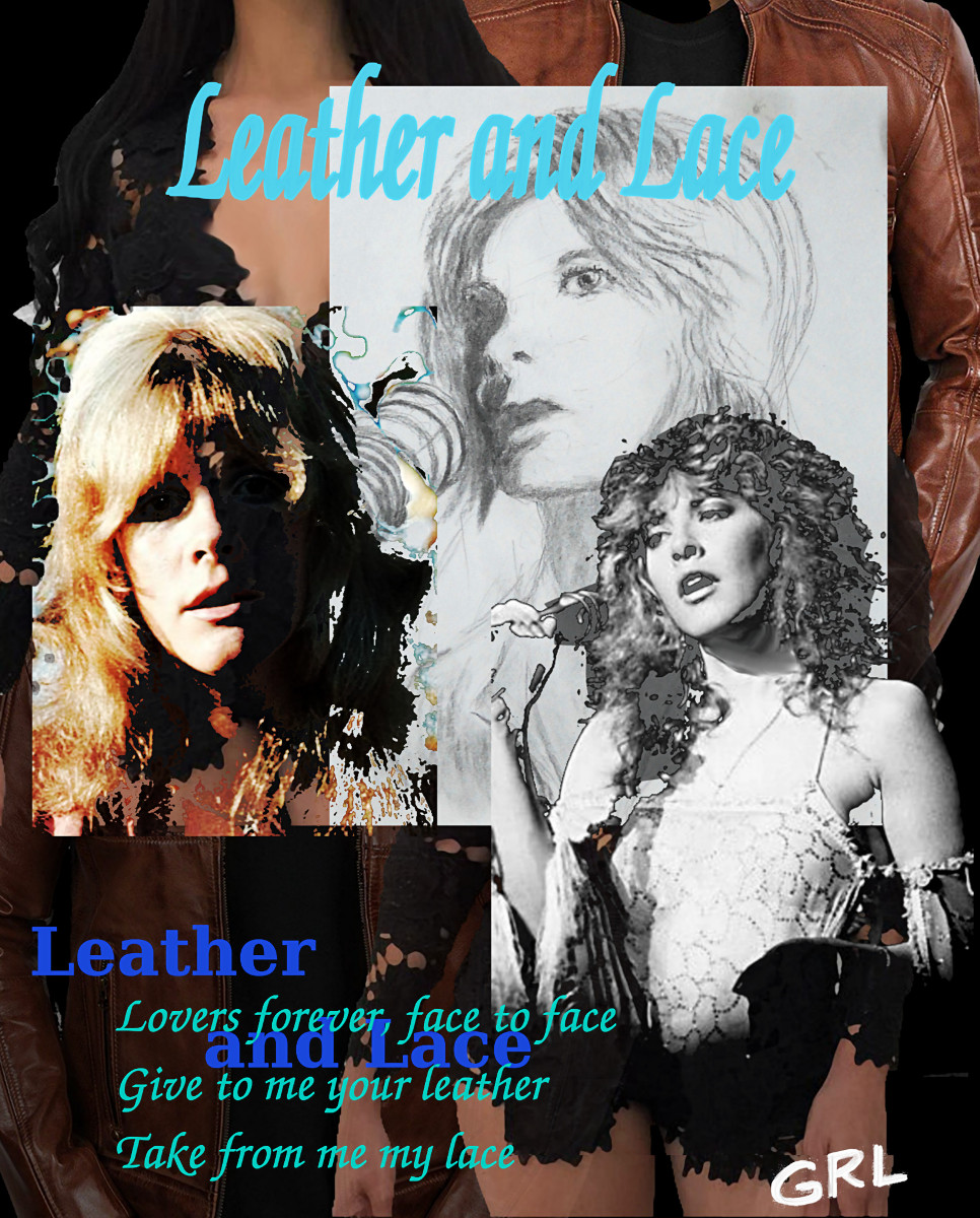 Stevie Nicks Collage Leather and Lace, $18 to $24 medium-size prints. Free downloads. Stevie Nicks charcoal and digital collage, Leather and Lace, original fine Art. GrlFineArt. Fine art work, fine art decor, fineart; landscapes, seascapes, boats, figures, nudes, figurative art, flowers, still life, digital abstracts. Multimedia classical traditional modern acrylic oil painting paintings prints.