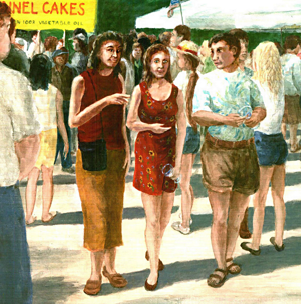 Fine Art Multimedia Acrylic/Oil - Winefest, Maryland, Near Frederick, Hagerstown, 1990s - Detail I - original fine art work by G. Linsenmayer