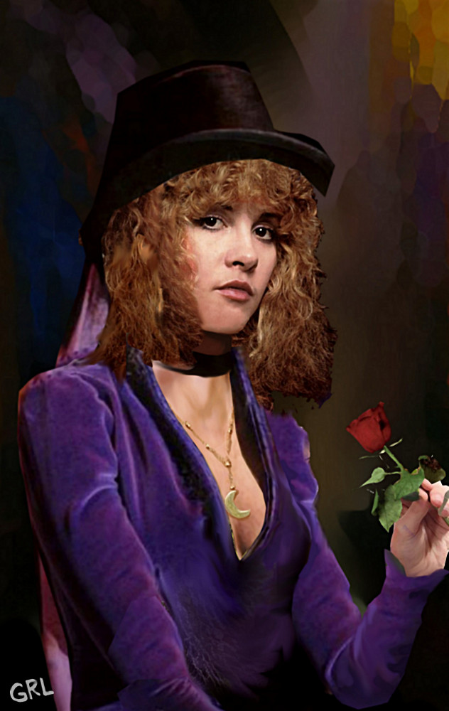 Stevie Nicks Crescent Moon, fine art portrait. Original multimedia fine art work, paintings. $20 to $30 small, medium-size, prints. Free downloads. ‬‎GrlFineArt. Original Fine Art Digital Portrait Stevie Nicks with a crescent-moon necklace, a black top hat, and a rose. Art, fine art, original art, fine art work, fine art decor, ‪‎fineart; figures, figurative. Multimedia classical traditional modern acrylic oil ‪‎painting‬ ‪‎painting‬s prints.