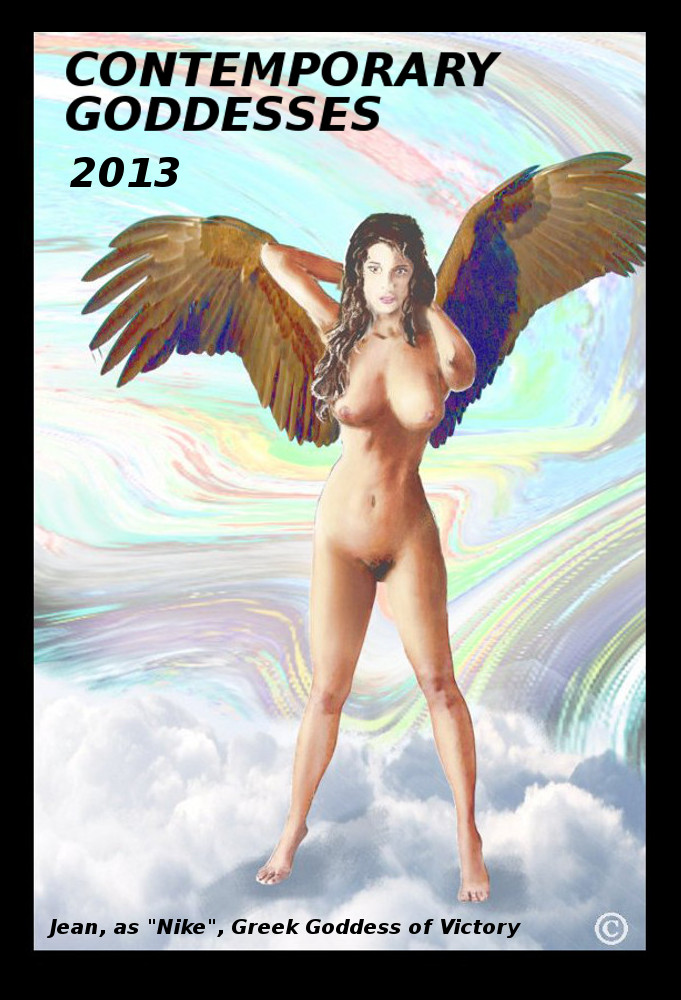 Jean as the Goddess Nike, an original multimedia oil /acrylic digital painting of a female nude, ... based on my own prior sketches and paintings. Nike is the Ancient Greek goddess who personified victory. Her Roman equivalent was Victoria.