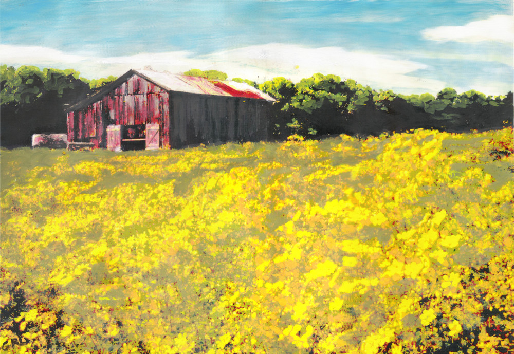 Barn Yellow Spring Fields Maryland Landscape Fine Art. $370, 15 x 10 inches; $18 to $24 medium-size prints. Free downloads, wallpaper. An original multimedia acrylic/oil painting, Maryland, a barn in a field of yellow spring fields of flowers. GrlFineArt. Fine art work, fine art decor, fineart; landscapes, seascapes, boats, figures, nudes, figurative art, flowers, still life, digital abstracts. Multimedia classical traditional modern acrylic oil painting paintings prints.