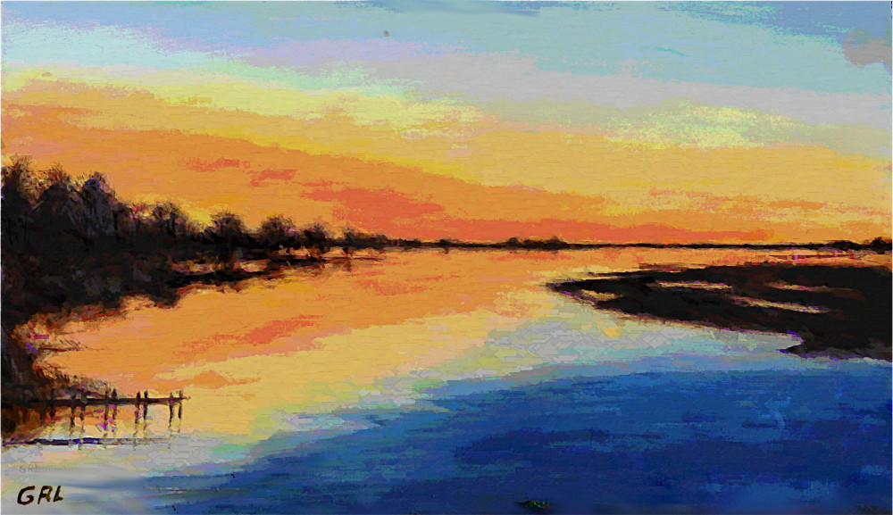 Emerald Isle, bridge over the inland waterway, at sunrise.. Paintings and prints, landscapes/seascapes, boats, sea and shore, abstracts, nudes, female nudes... Original fine art work by G. Linsenmayer.