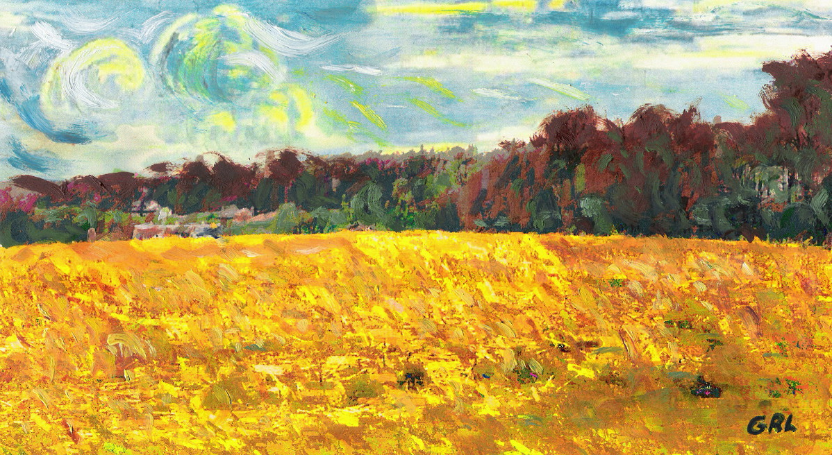 ORIGINAL FINE ART SUMMER FIELDS, FARMLANDS. Original multimedia fine art work, paintings. $20 to $30, medium-size prints. Mixed media and oil painting, landscape... somewhat reminiscent of Van Gogh. Free downloads, ‬‎GrlFineArt. Fine art work, fine art decor, ‪‎fineart; landscapes, seascapes, boats, figures, nudes, figurative art, flowers, still life, digital abstracts. Multimedia classical traditional modern acrylic oil ‪‎painting‬ ‪‎painting‬s prints.
