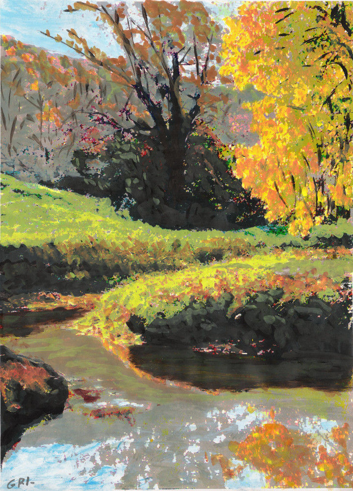 QUIET STREAM MARYLAND                                         LANDSCAPE FALL COLORS SKETCH,                                         original fine art painting                                         (sketch) by G. Linsenmayer                                         #GrlFineArt